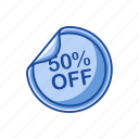 discount, fifty percent off, on sale, sale icon
