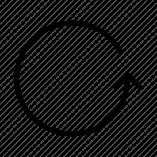 circle, down, right, rotate, undo icon