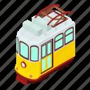 city, classic, electric, isometric, logo, object, tram