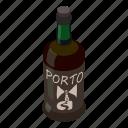 alcohol, bottle, isometric, logo, object, port, wine
