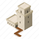 castle, fort, fortress, isometric, logo, object, tower