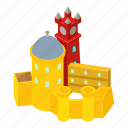 castle, colored, fort, fortress, isometric, logo, object