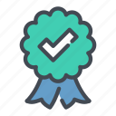 approval, check, confirmation, medal, positive, success, tick icon