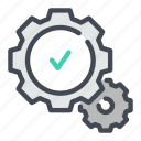 approval, check, confirmation, gear, positive, success, tick icon