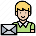 addressee, letter, mail, receiver, sender icon