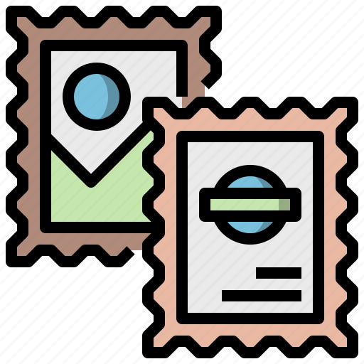 communications, graphic, mail, multimedia, option, stamp, tool icon