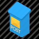 box, correspondence, envelope, isometric, mailbox, object, postbox