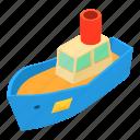 cargo, isometric, object, ocean, sea, ship, shipping