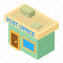 building, isometric, mail, object, office, post, postal