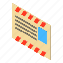 address, envelope, isometric, mail, object, old, post