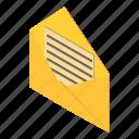 address, envelope, isometric, mail, object, open, post
