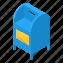 blue, box, correspondence, isometric, mailbox, object, postbox