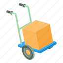 cardboard, cargo, cart, isometric, moving, object, post