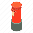 box, correspondence, isometric, mailbox, object, postbox, red