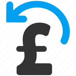 business, cancel transaction, money back, pound sterling, refresh, undo payment, update icon