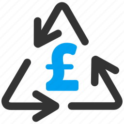 business, cost, ecological, garbage, pound sterling, recycling, refresh icon