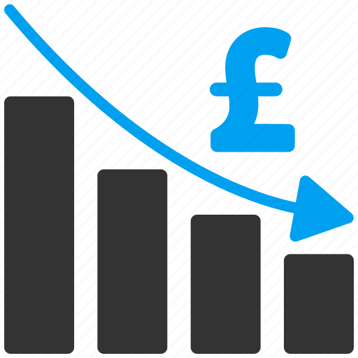 bar chart, business, finance, graph, money, pound sterling, recession icon