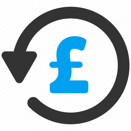 history, money back, pound sterling, rebate, refresh, undo payment, update icon