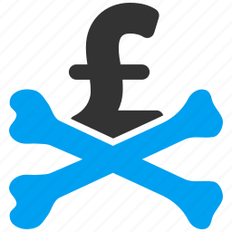 crossbones, danger, death, hazard, money, mortal debt, pound sterling icon