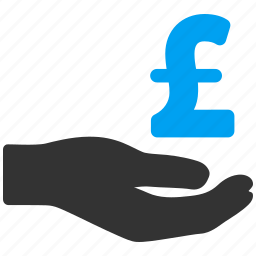 bank, business, hand, money donation, payment, pound sterling, support icon