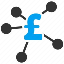 bank system, business, distribution, financial transactions, money, network, pound sterling icon