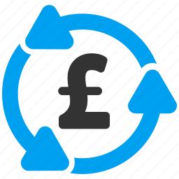 arrow, back, business, money circulation, pound sterling, refresh, update icon