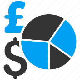 american dollar, currency, diagram, finance, pie chart, pound sterling, report icon