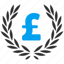 award, financial, laurel wreath, pound sterling, pride, quality, trophy icon