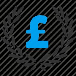 award, financial, laurel wreath, pound sterling, pride, quality, trophy icon