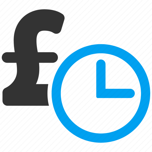 bank, clock, credit, money, pound sterling, recurring payment, time icon