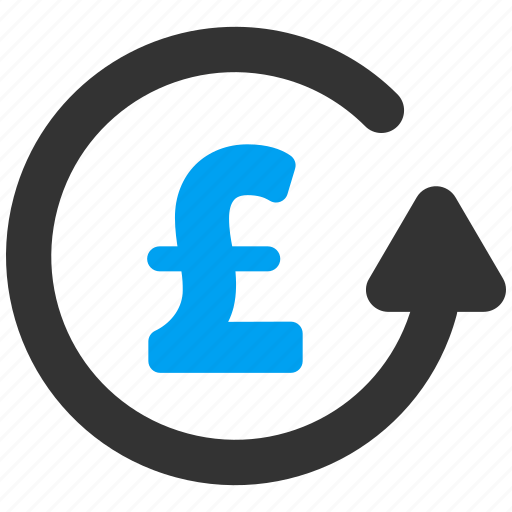 chargeback, money back, pound sterling, refresh, revert transaction, rotation arrow, update icon