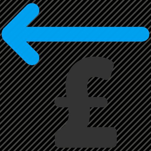 back arrow, business, cashback, pound sterling, remove, restore, return icon