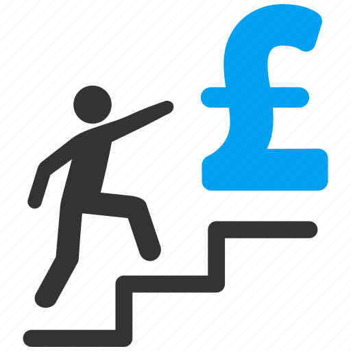 business education, career, finance, person, pound sterling, stairs, steps icon