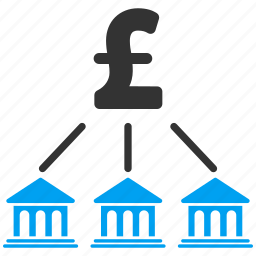 bank organization, business, group, money, network, pound sterling, structure icon