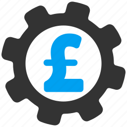 development, gear, industrial business, money, pound sterling, settings, tools icon