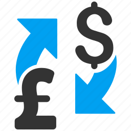 american dollar, british currency, exchange, flip, money, pound sterling, swap icon