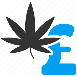 cannabis, drug business, herb leaf, illegal, marijuana, pound sterling, weed icon