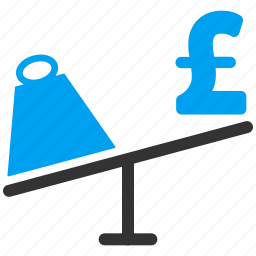 balance, compare, market, pound sterling, price, swing, weight icon