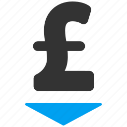 down, lower bid, negative, pound sterling, rate, reduce price, reduction icon
