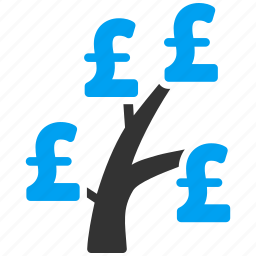 business project, growth, money tree, plant, pound sterling, startup, venture company icon