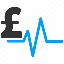 business, currency, medical, money, pound, pulsation chart, pulse icon