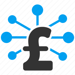 bank system, connection, financial links, network, pound sterling, share, structure icon