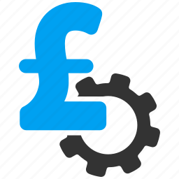 business, cost, development, engineering, gear, pound sterling, price icon