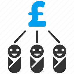 children, family budget, flow chart, kid expenses, money, pound sterling, structure icon