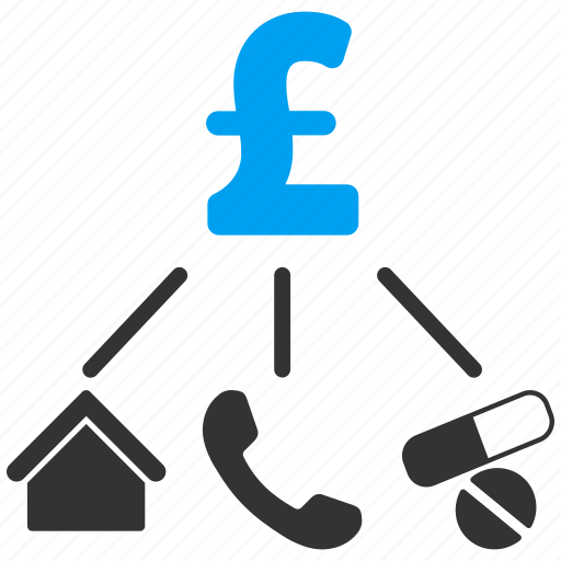 budget, cashflow, consumption pattern, flow chart, life expenses, pound sterling, structure icon