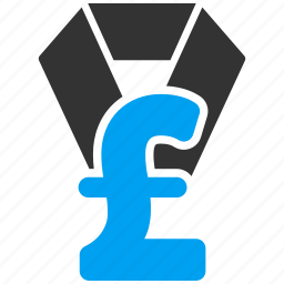 award, business, finance, financial, medal, pound sterling, trophy icon