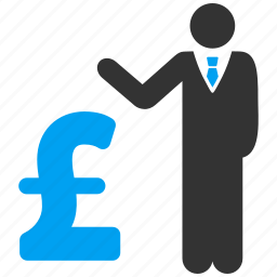 banker, businessman, collector, loan, pound sterling, professional, salary icon