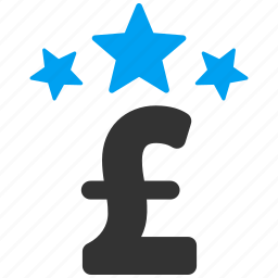 business, cost, finance, gold star, money, pound sterling, stars icon