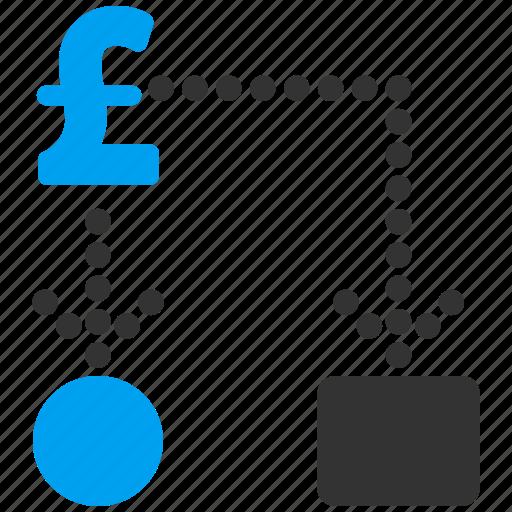 analytics, cash flow, diagram, flowchart, optimization, pound sterling, scheme icon
