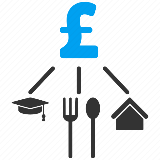 budget, cashflow, consumption pattern, expenses, model, pound sterling, structure icon